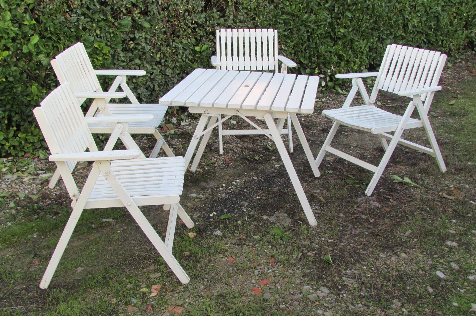 Klappbare Gartensitzgruppe aus Holz von R. Gleyzes, 1950er