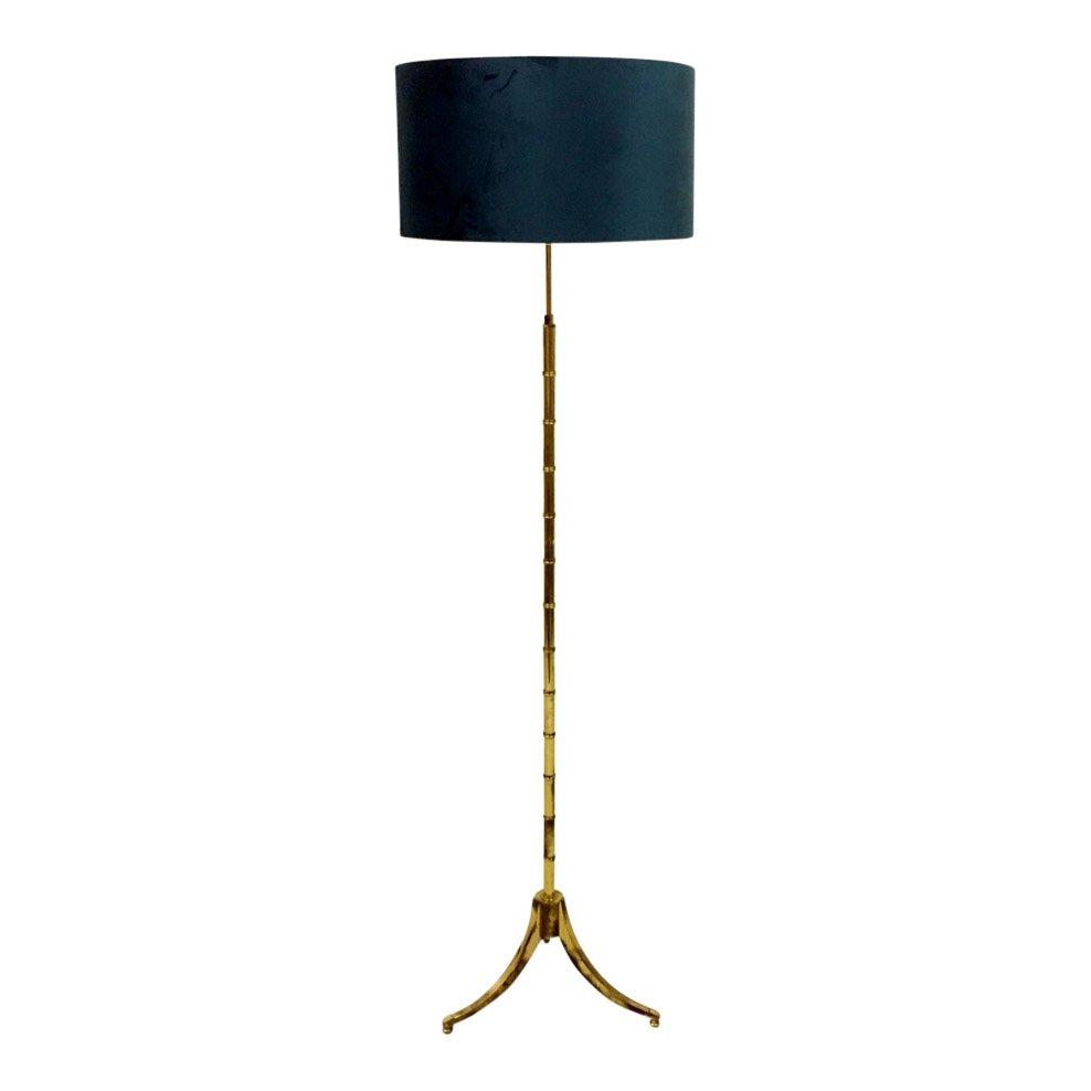 Französische Stehlampe aus Kunstbambus & Messing, 1970er