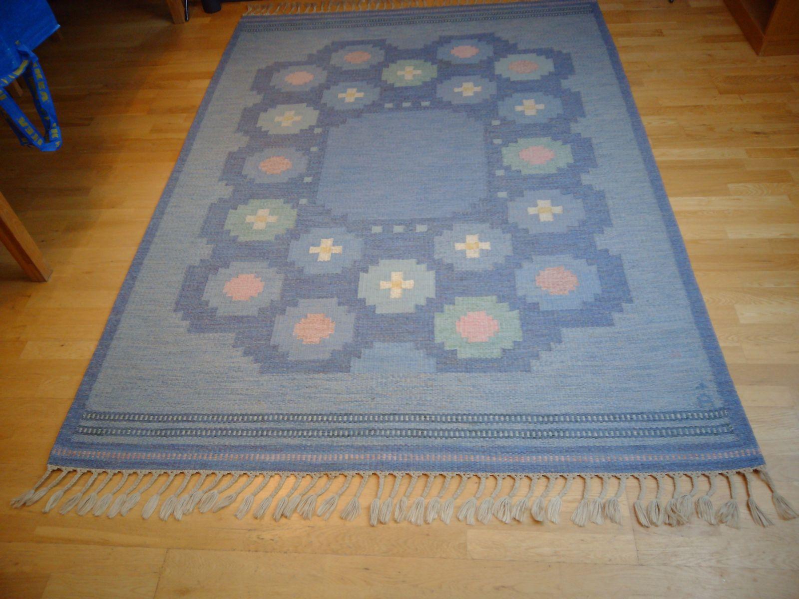 Swedish flat weave rug by anna johanna ångström for axeco 1960s
