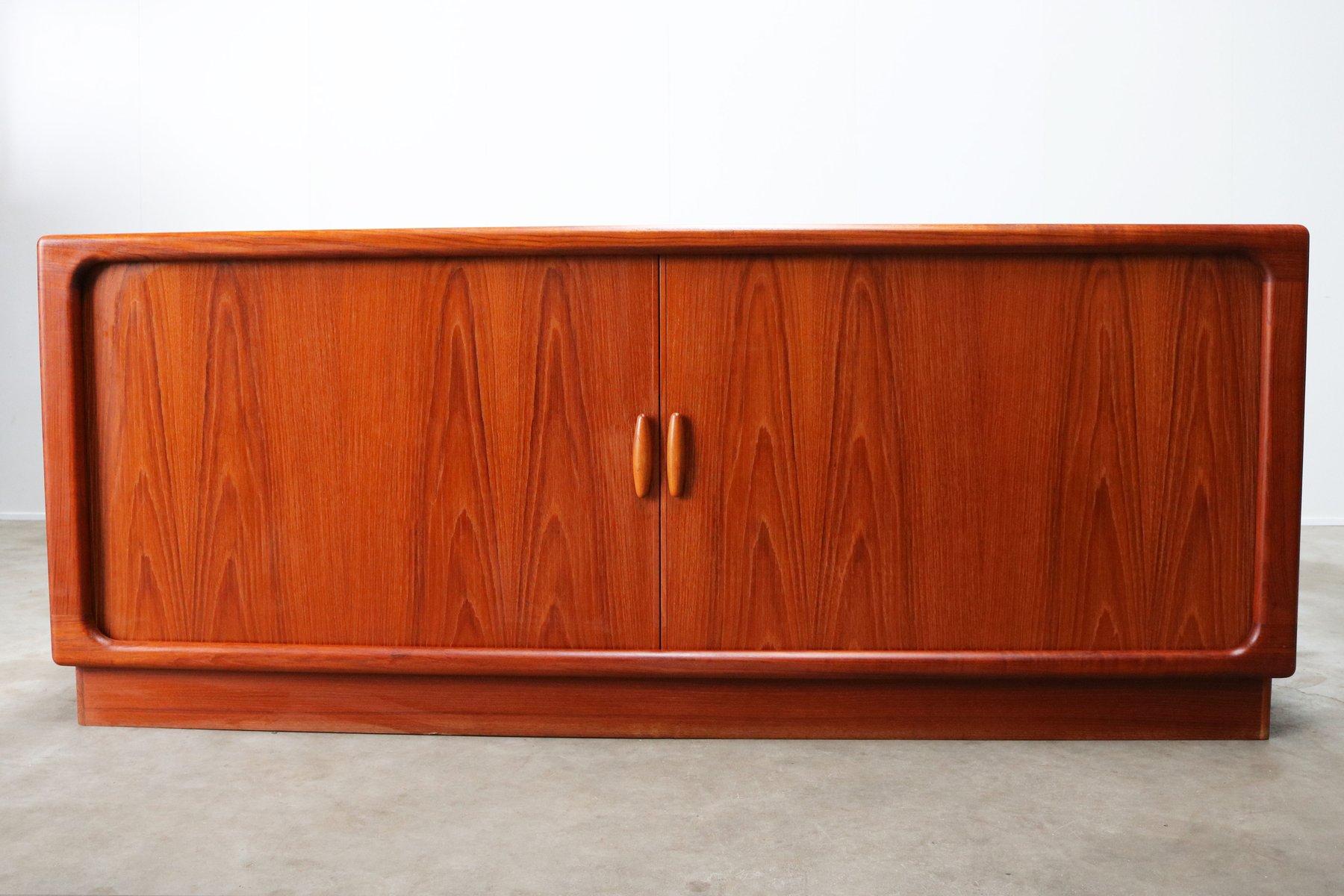 Dyrlund Danish Credenza : Danish teak credenza with tambour doors from dyrlund 1950s for sale
