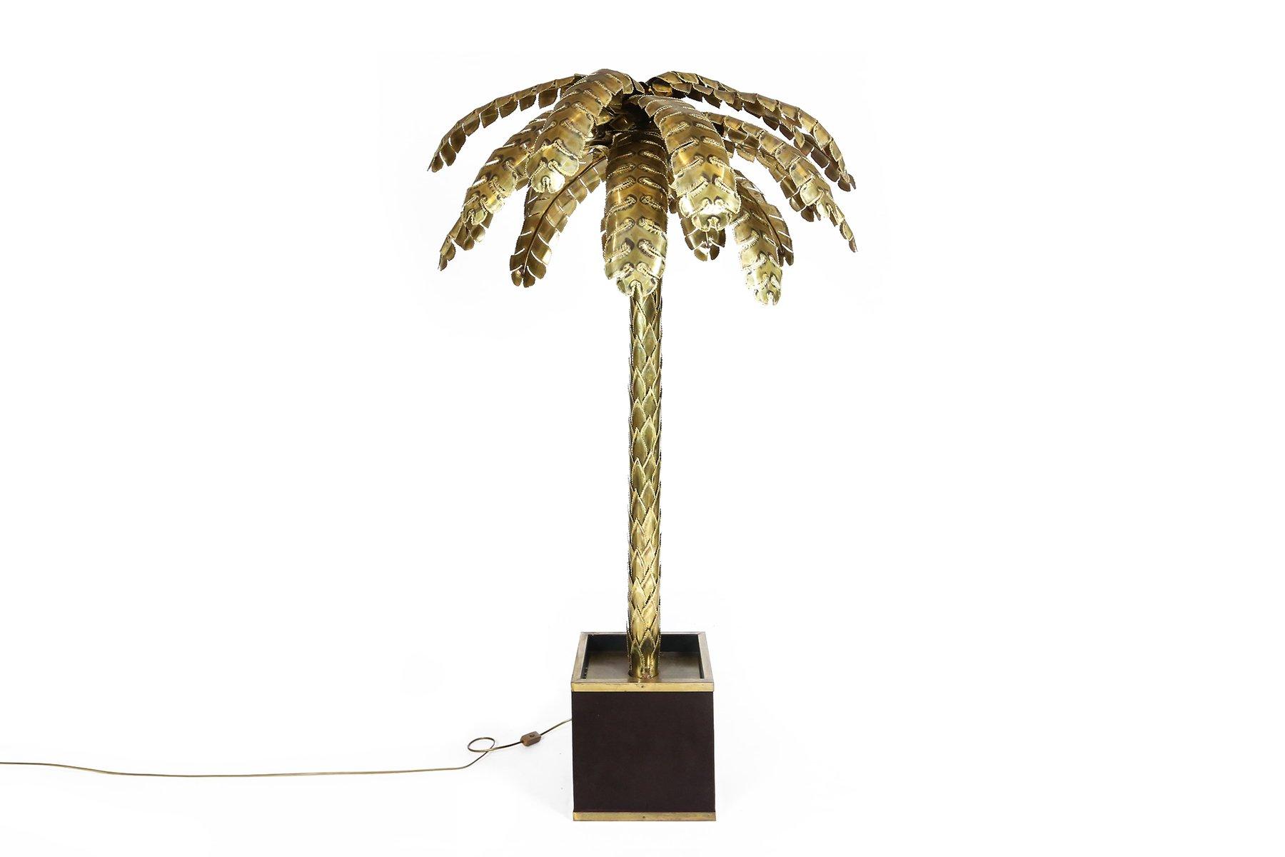 Große Palmenstehlampe aus Messing von Maison Jansen, 1970er