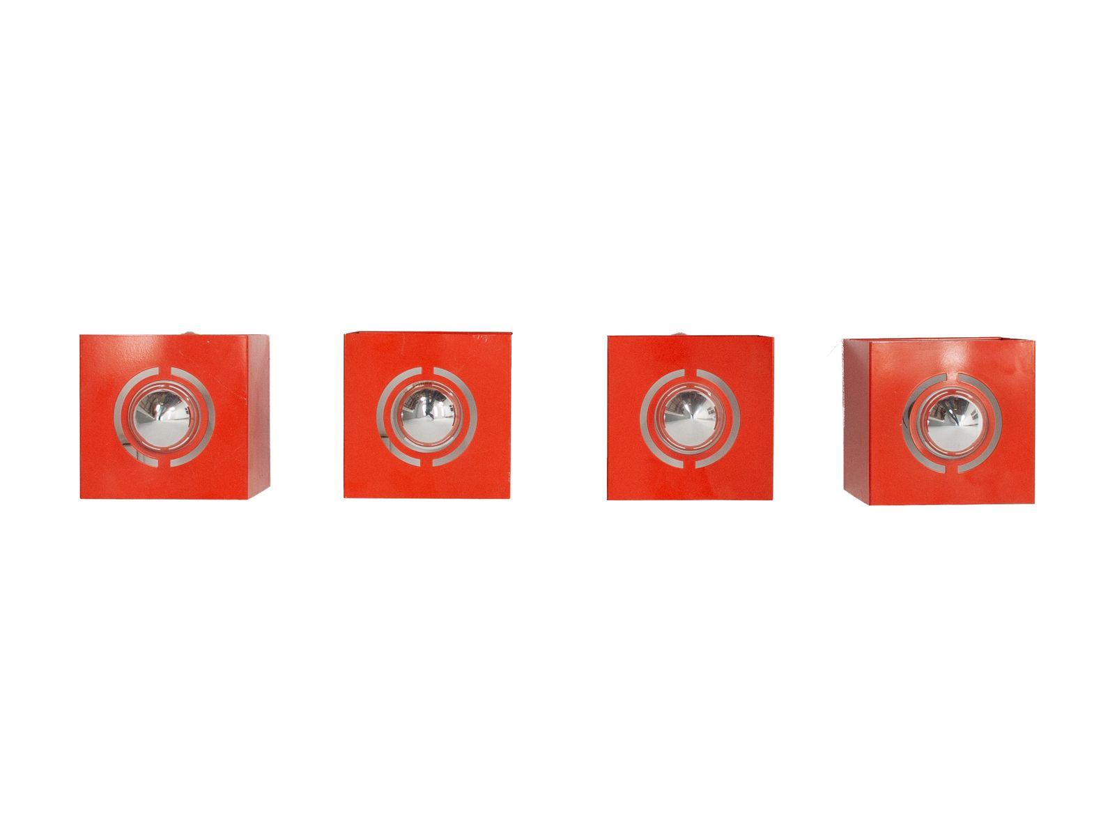 Würfelförmige Leuchten in Orange von Philips, 1973, 4er Set