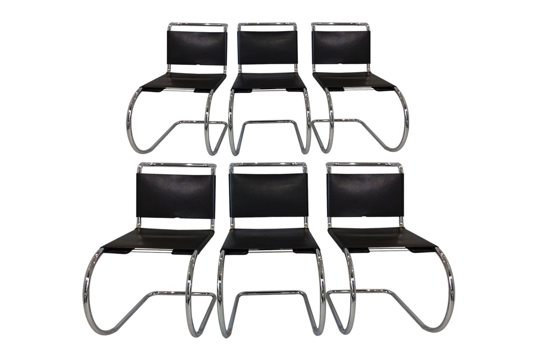 Sessel aus Leder & Chrom von Mies Van Der Rohe für Knoll International...