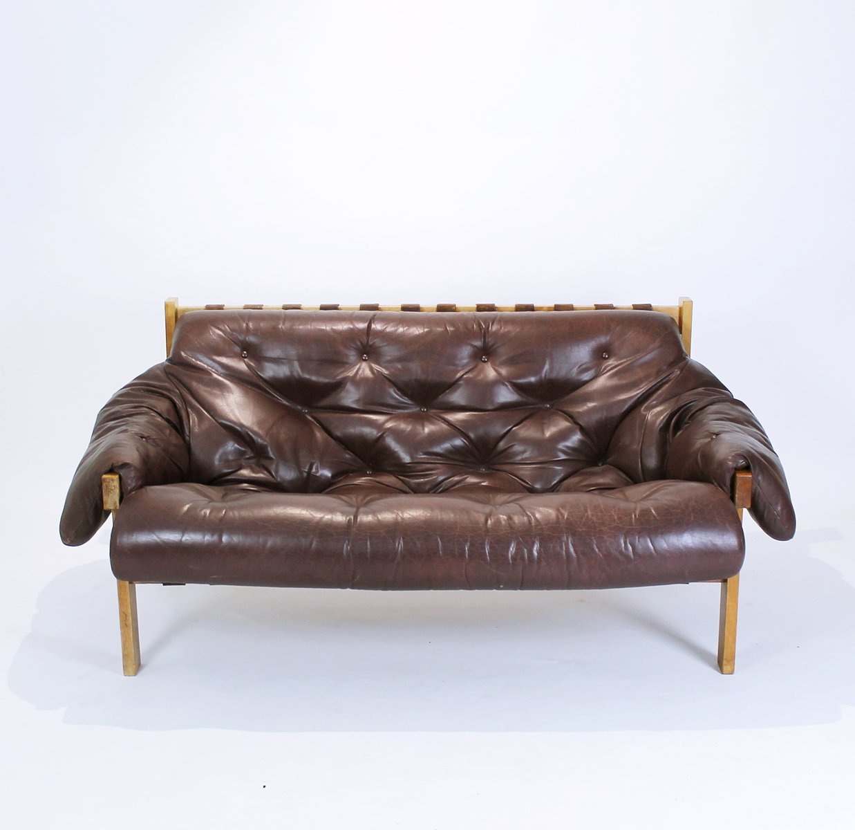 Mid Century Modern Tufted Distressed Leather Sofa 1970s
