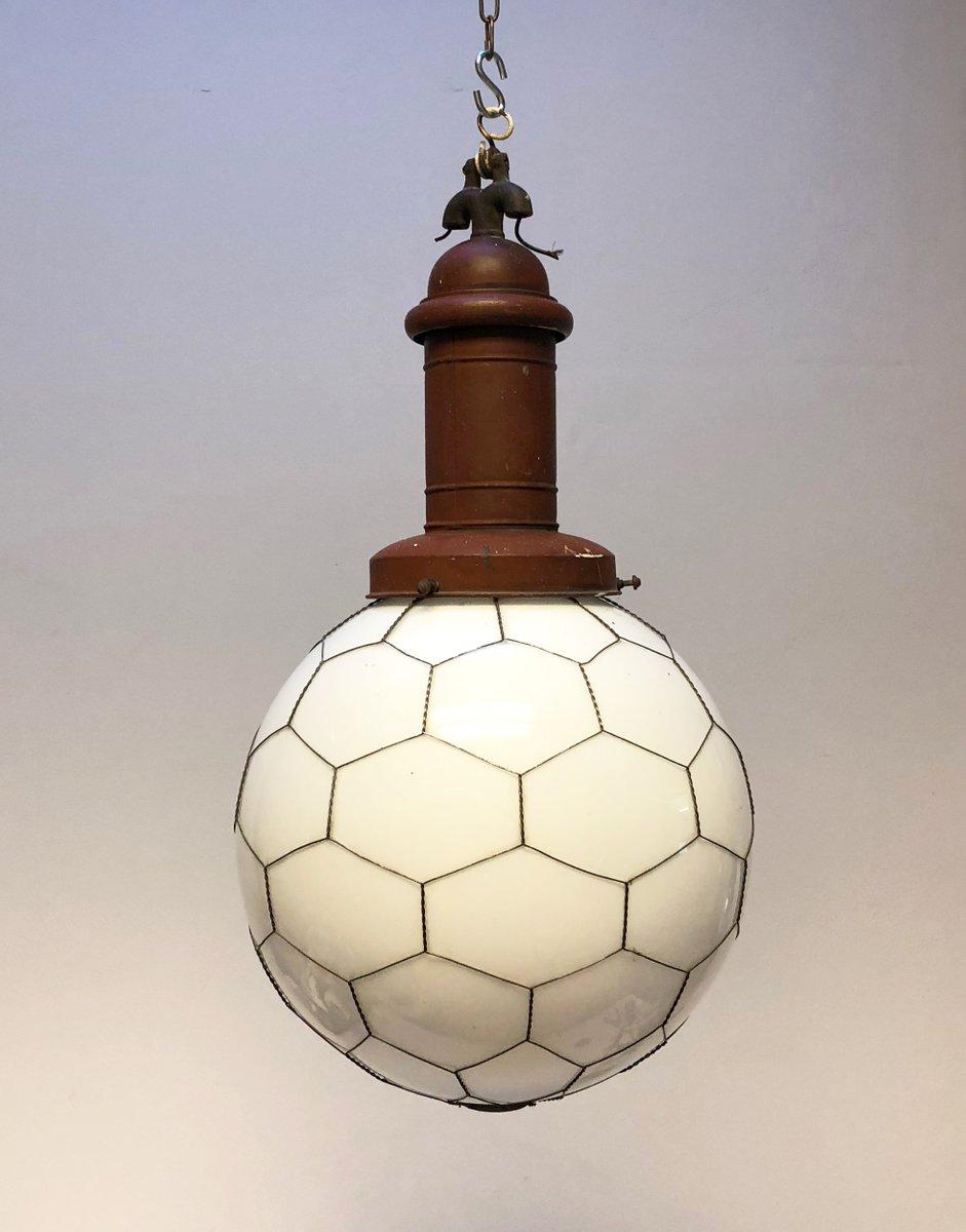 Hängende Straßen- oder Fabriklampe mit Opalglas, 1900er