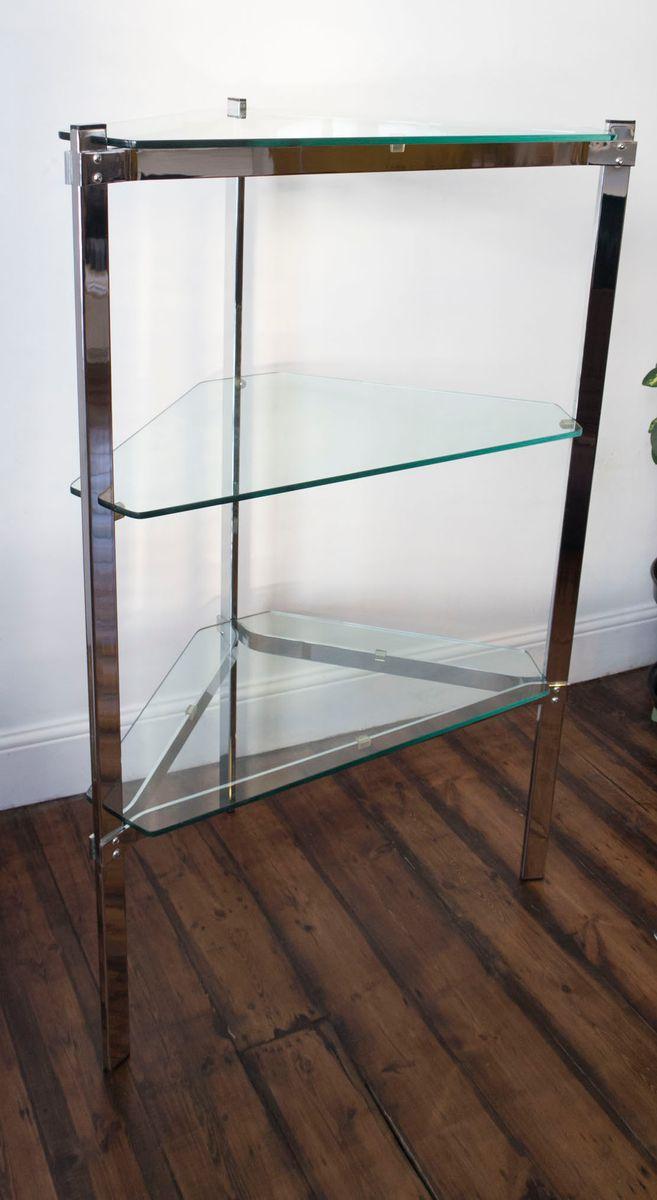 dreieckiger beistelltisch mit glasplatte und regal von merrow associates 1970er bei pamono kaufen. Black Bedroom Furniture Sets. Home Design Ideas