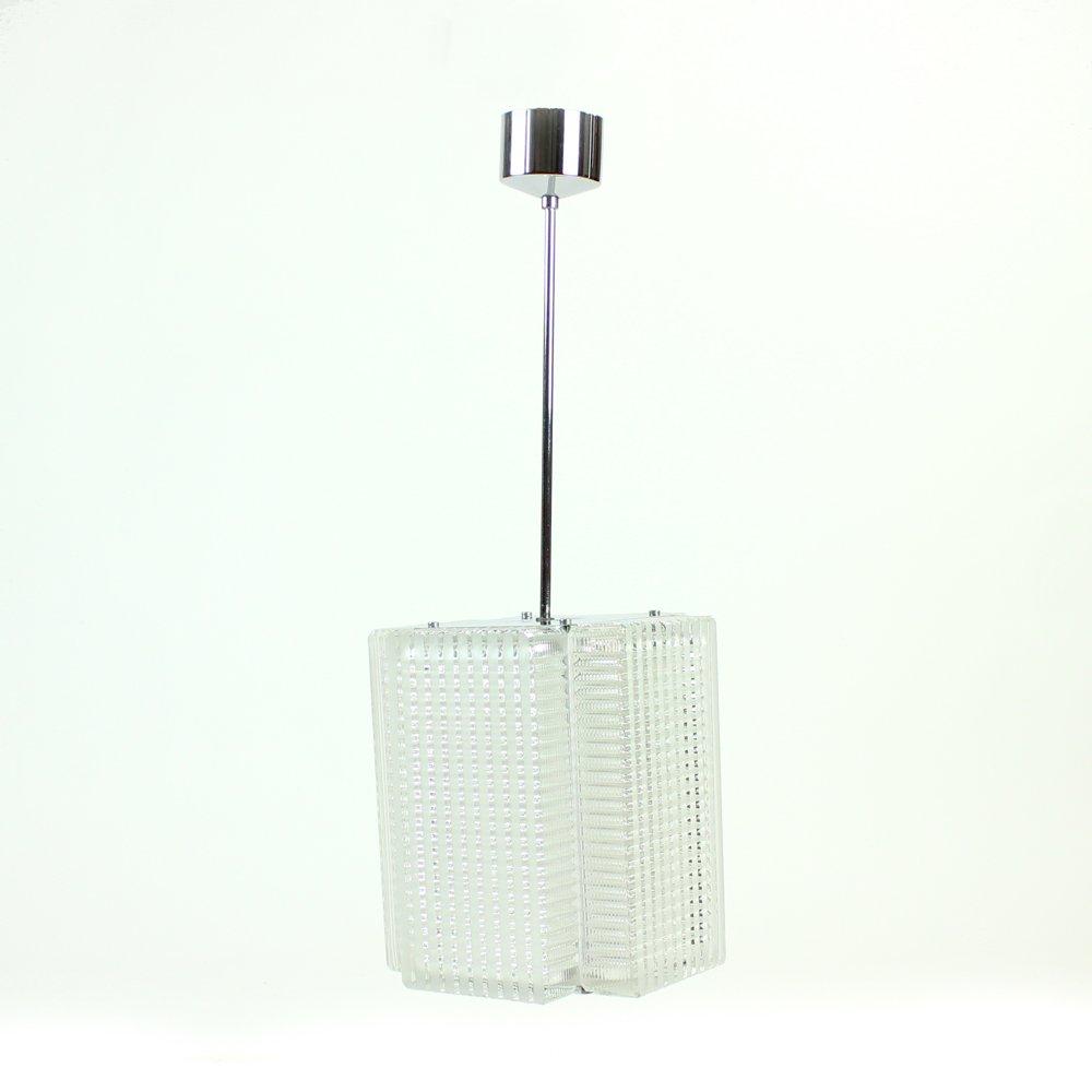 Deckenlampe aus Glas & Chrom von Napako, 1960er
