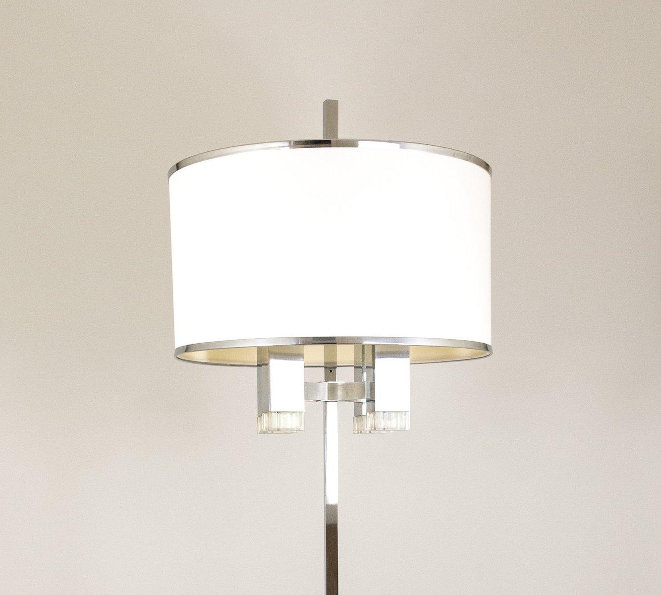 stehlampe aus chrom mit stoffschirm von gaetano sciolari 1970er bei pamono kaufen. Black Bedroom Furniture Sets. Home Design Ideas