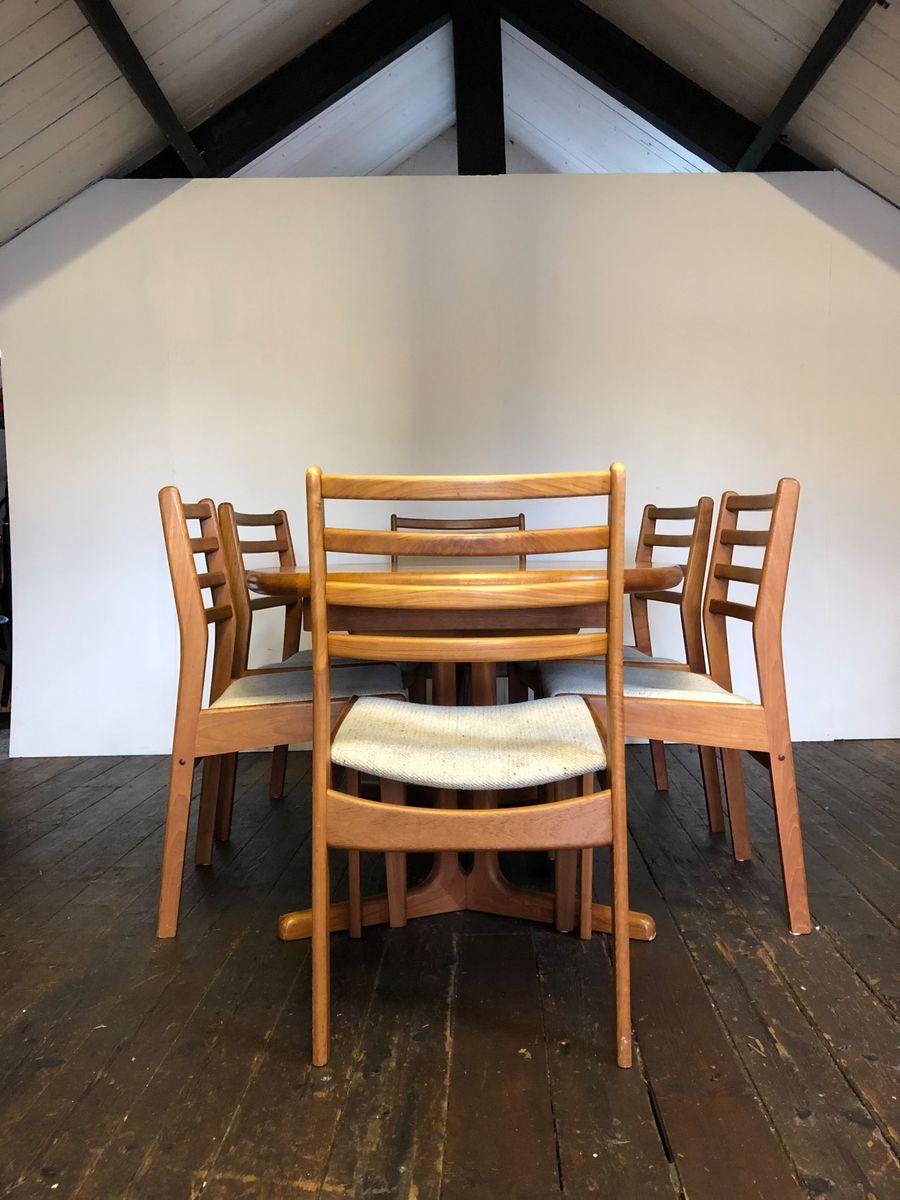 Table De Salle à Manger Extensible & 6 Chaises Mid-Century