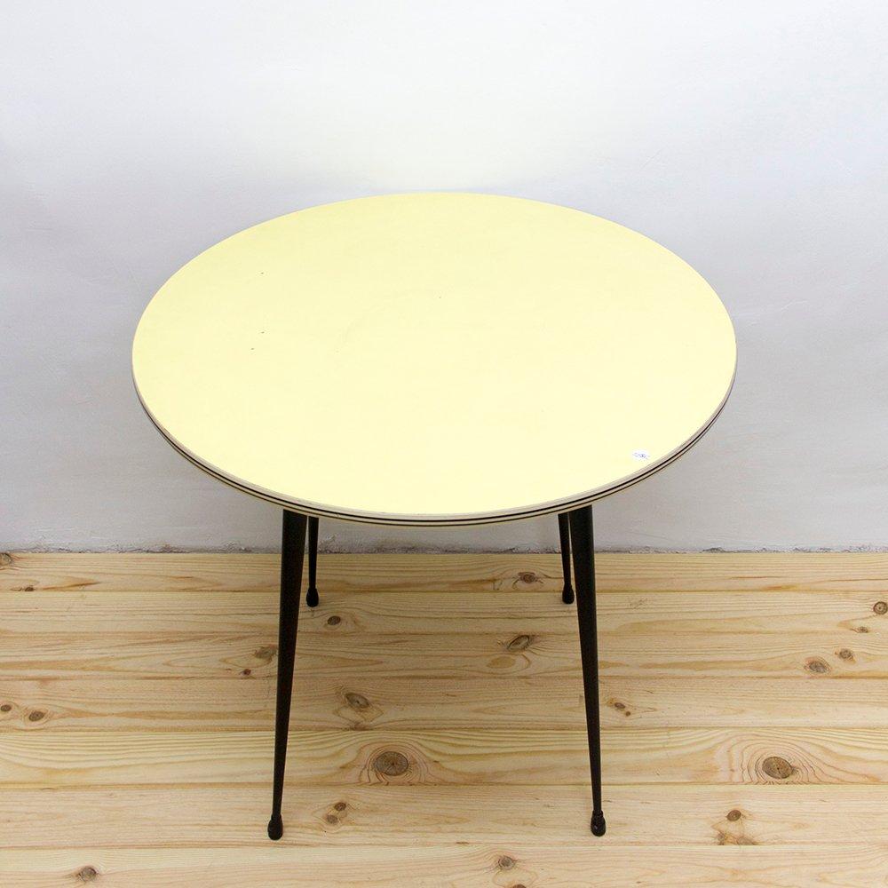 Tavolo da cucina rotondo in metallo e formica gialla, anni \'60 in ...