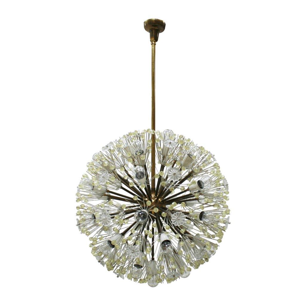 Sputnik Hängelampe aus Muranoglas & Metall von Emil Stejnar, 1960er