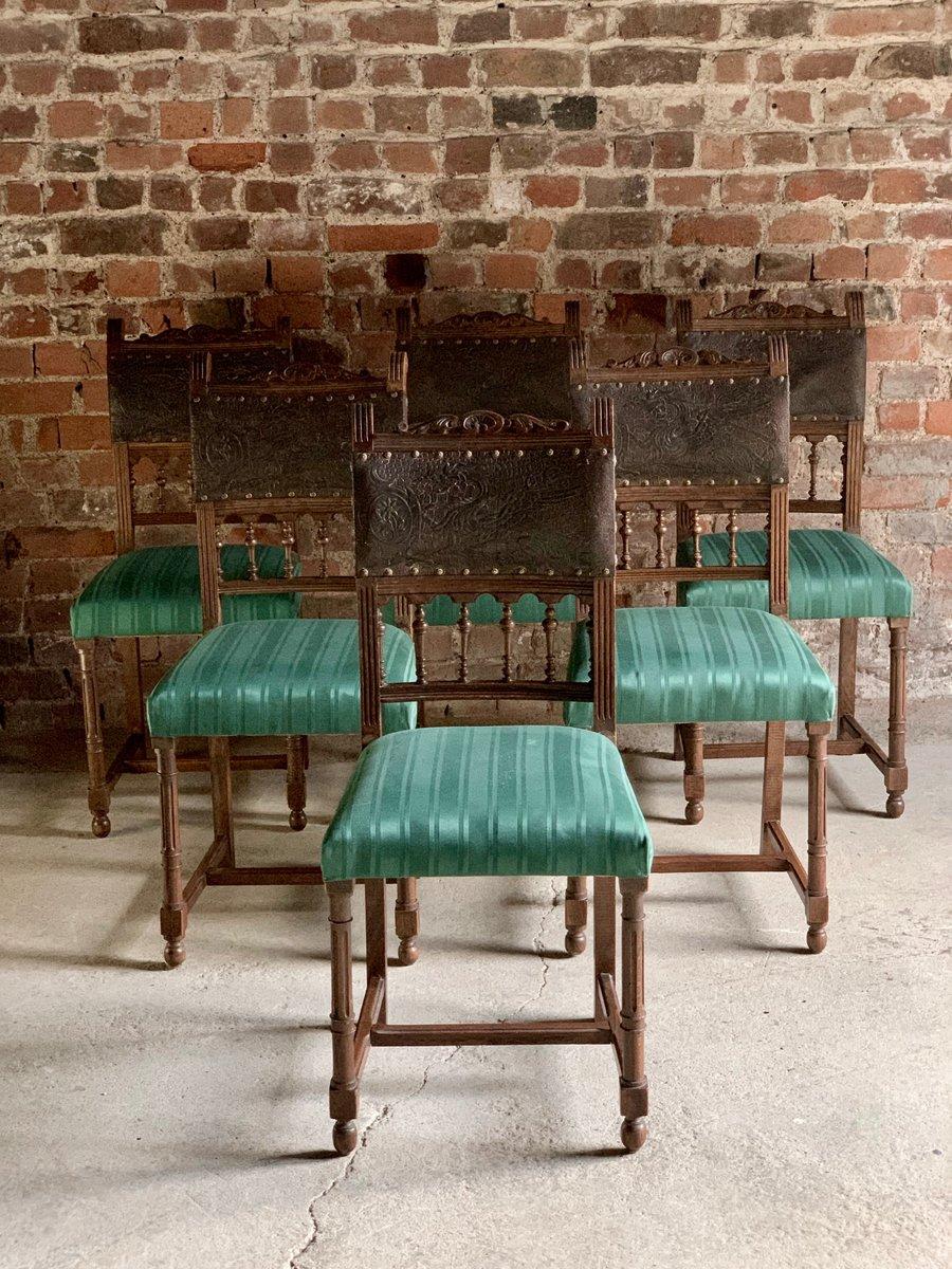 Chaises De Salle à Manger Antique En Chêne Et Cuir, Italie