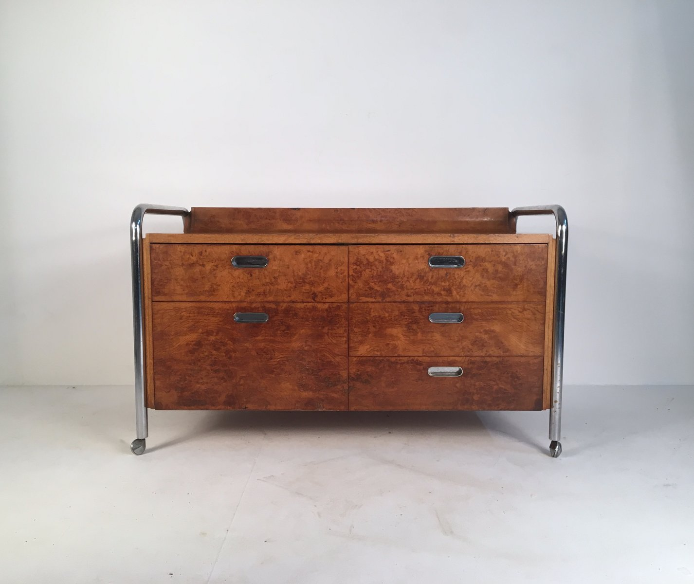 Mid Century Burl Oak Chrome Sideboard For Sale At Pamono