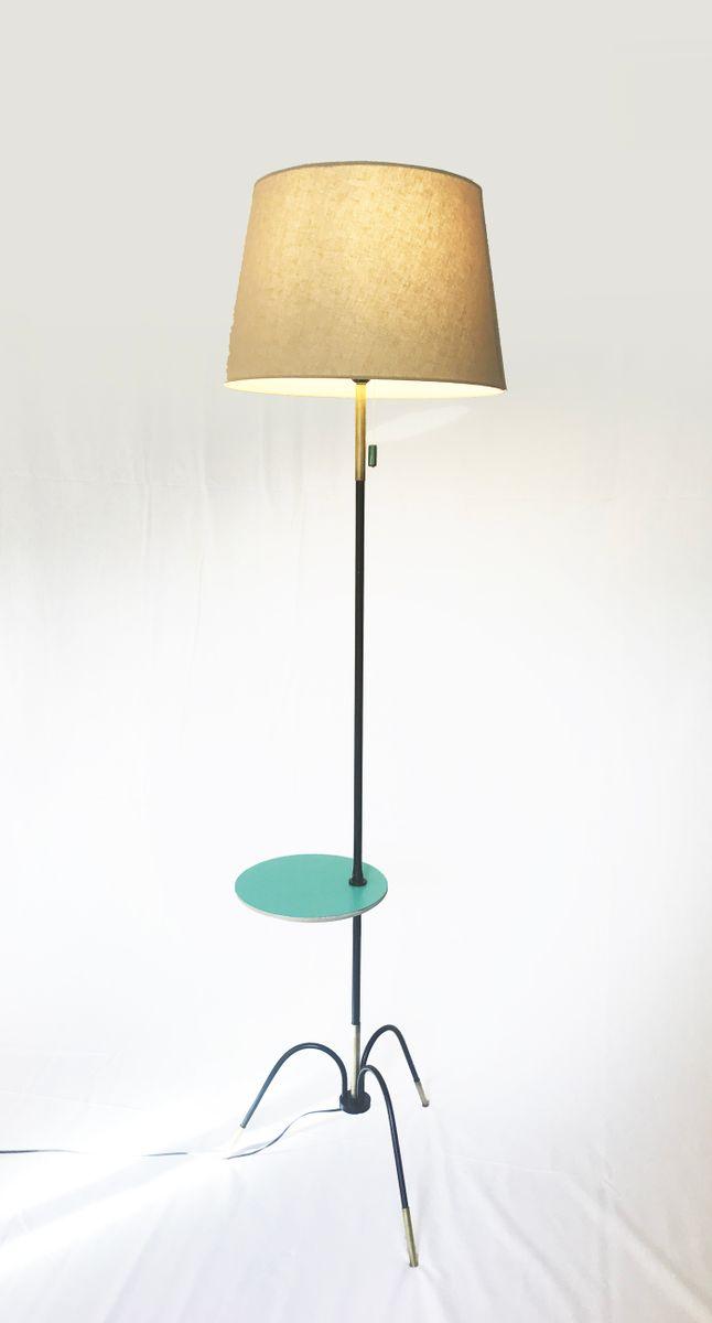 franz sische vintage stehlampe mit tisch aus resopal. Black Bedroom Furniture Sets. Home Design Ideas
