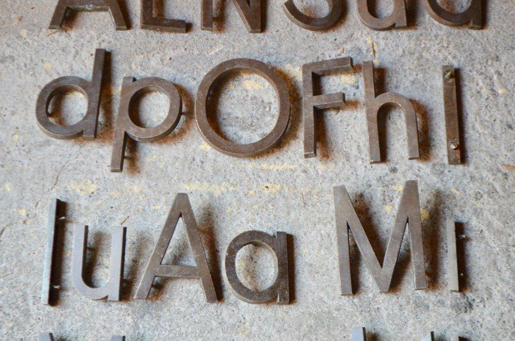 vintage industrial metal letters