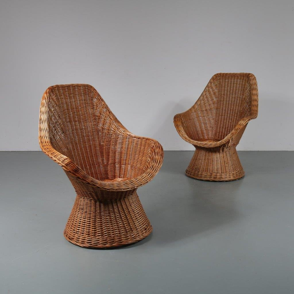 Vintage Wicker Chairs 1960s Set Of 2 For Sale At Pamono