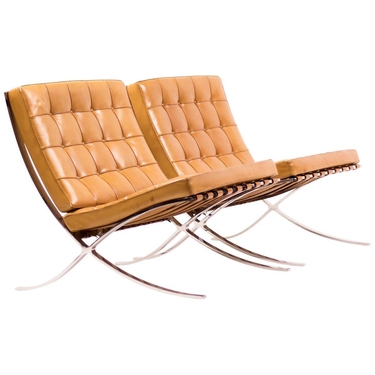 Cognacfarbene Barcelona Stühle Aus Leder Von Ludwig Mies Van Der