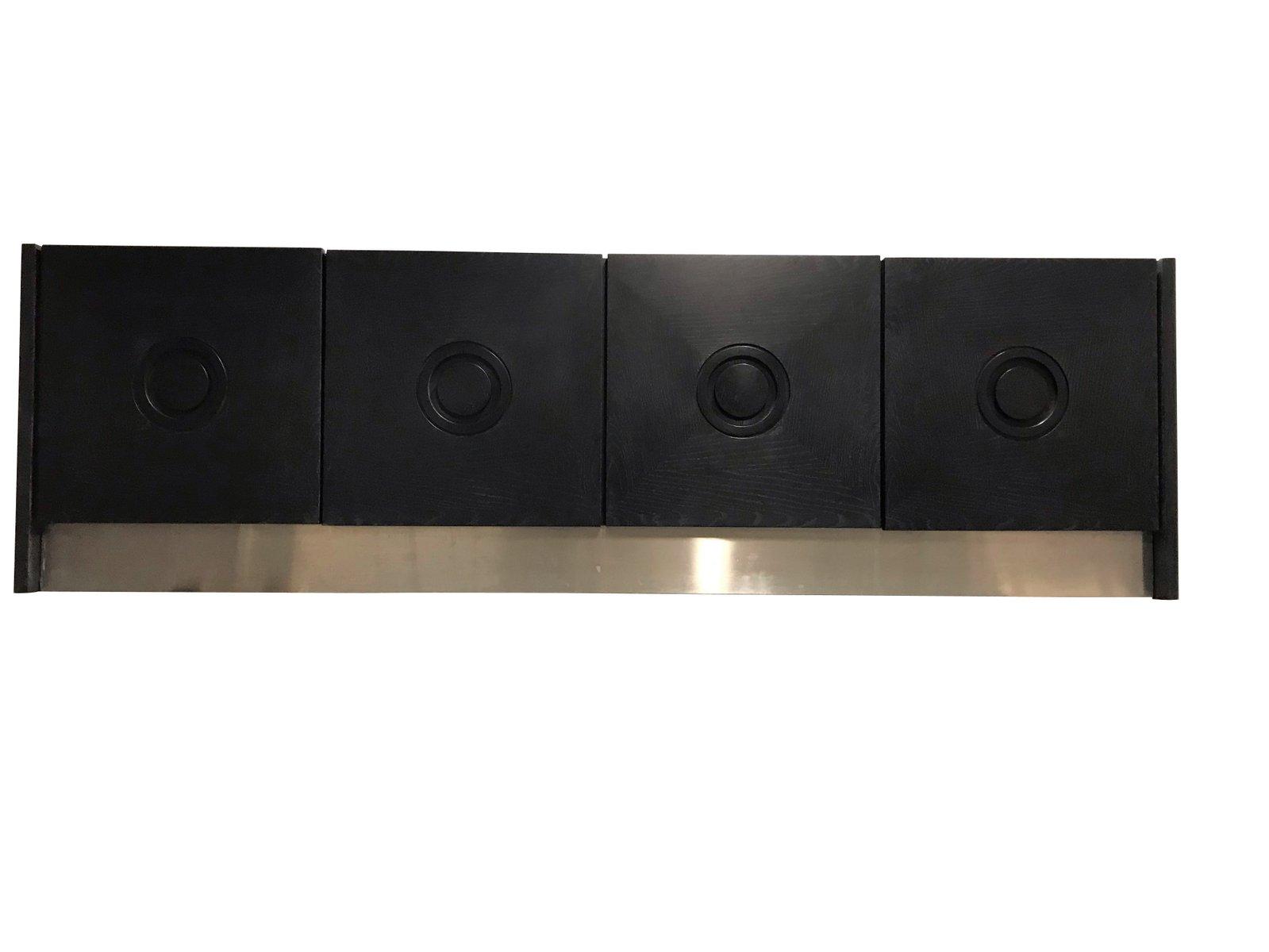 Brutalistisches schwarzes Sideboard, 1975