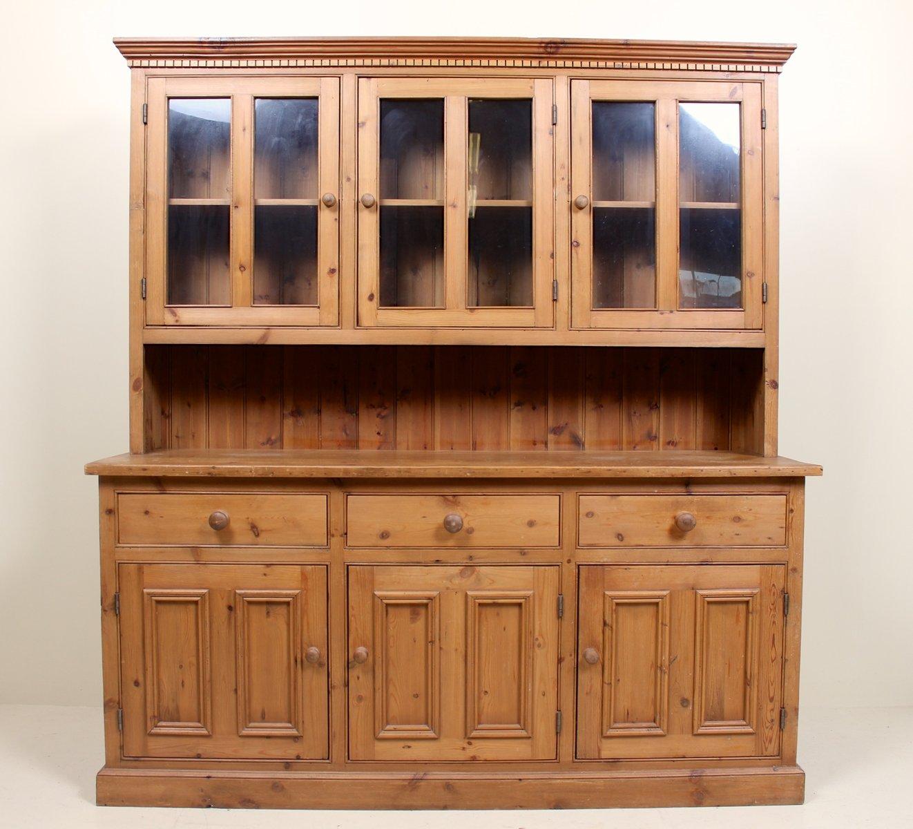 Mueble de cocina Mid-Century grande de pino y vidrio en venta en Pamono