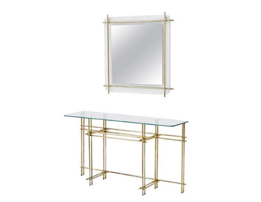 Consolle vintage in ottone lucido e in cristallo con specchio da ...