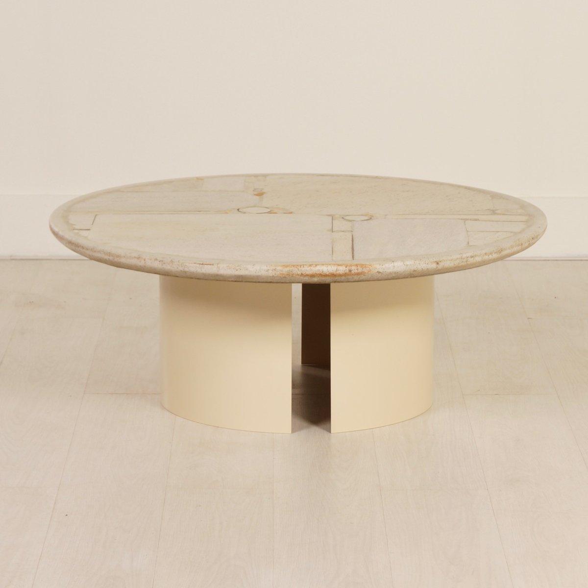 runder wei er kingma couchtisch aus stein von paul kingma 1987 bei pamono kaufen. Black Bedroom Furniture Sets. Home Design Ideas