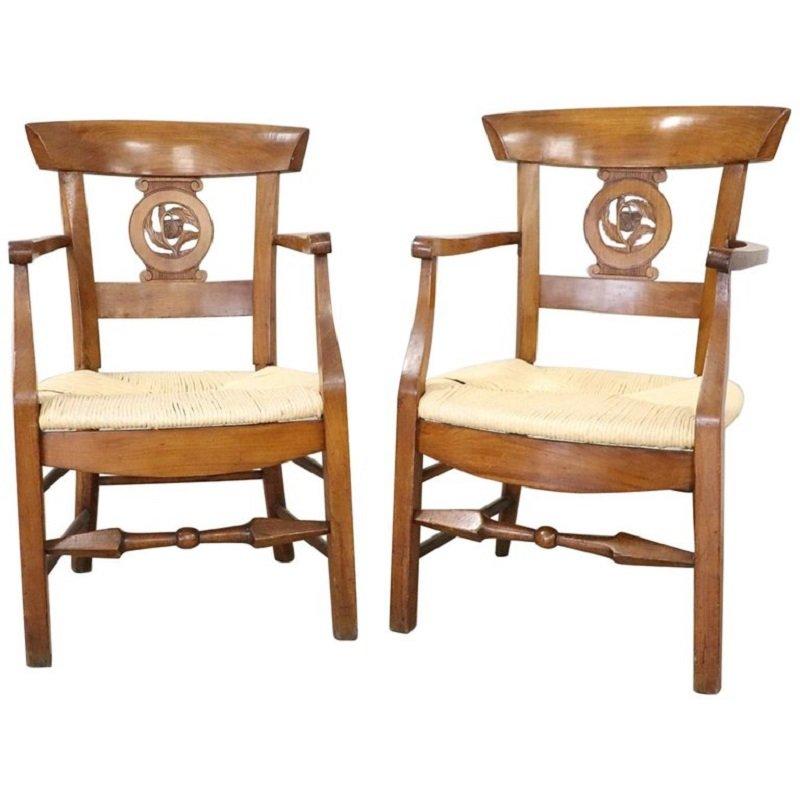 Antike Armlehnstühle aus Kirschholz, 1780er, 2er Set