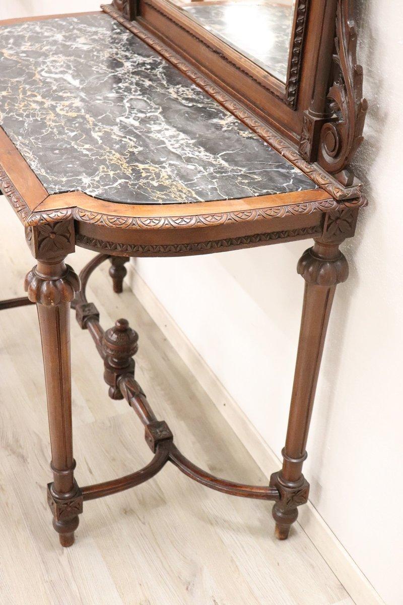 Konsolentisch aus geschnitztem nussholz mit spiegel marmorplatte 1885 bei pamono kaufen - Konsolentisch mit spiegel ...