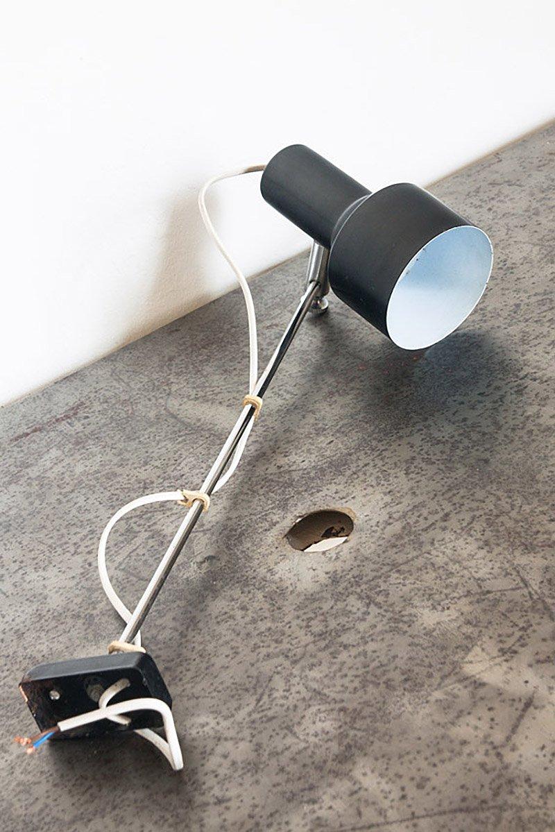 Schwarze spanische Vintage Wandlampe aus Eisen, 1970er
