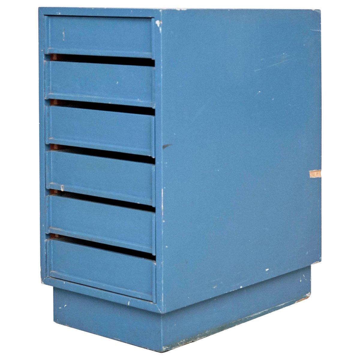Blaue Vintage Kommode 1960er Tc Compact