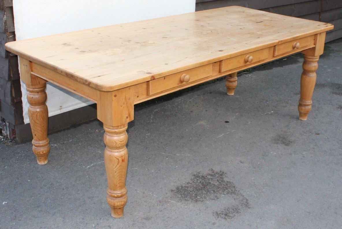 Bauerntisch aus Pinienholz, 1960er
