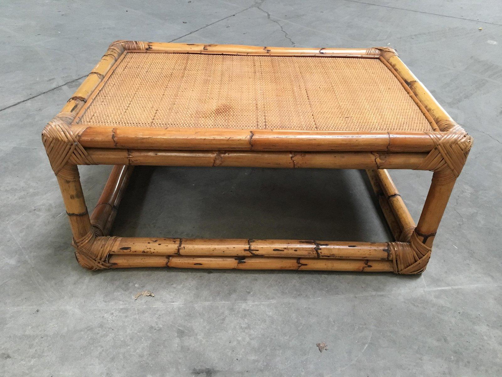 Vintage Italian Bamboo Coffee Table