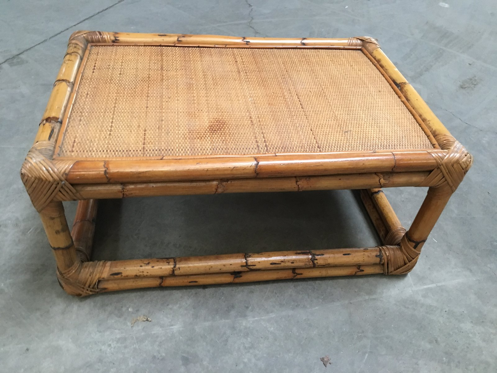 Vintage Italian Bamboo Coffee Table For Sale At Pamono