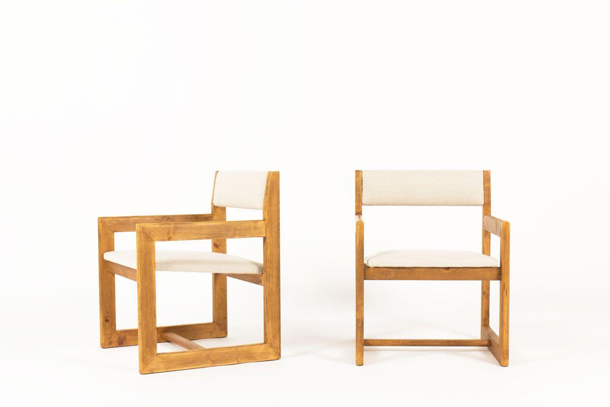 Niedrige Sessel in Beige von Andre Sornay, 1960er, 2er Set