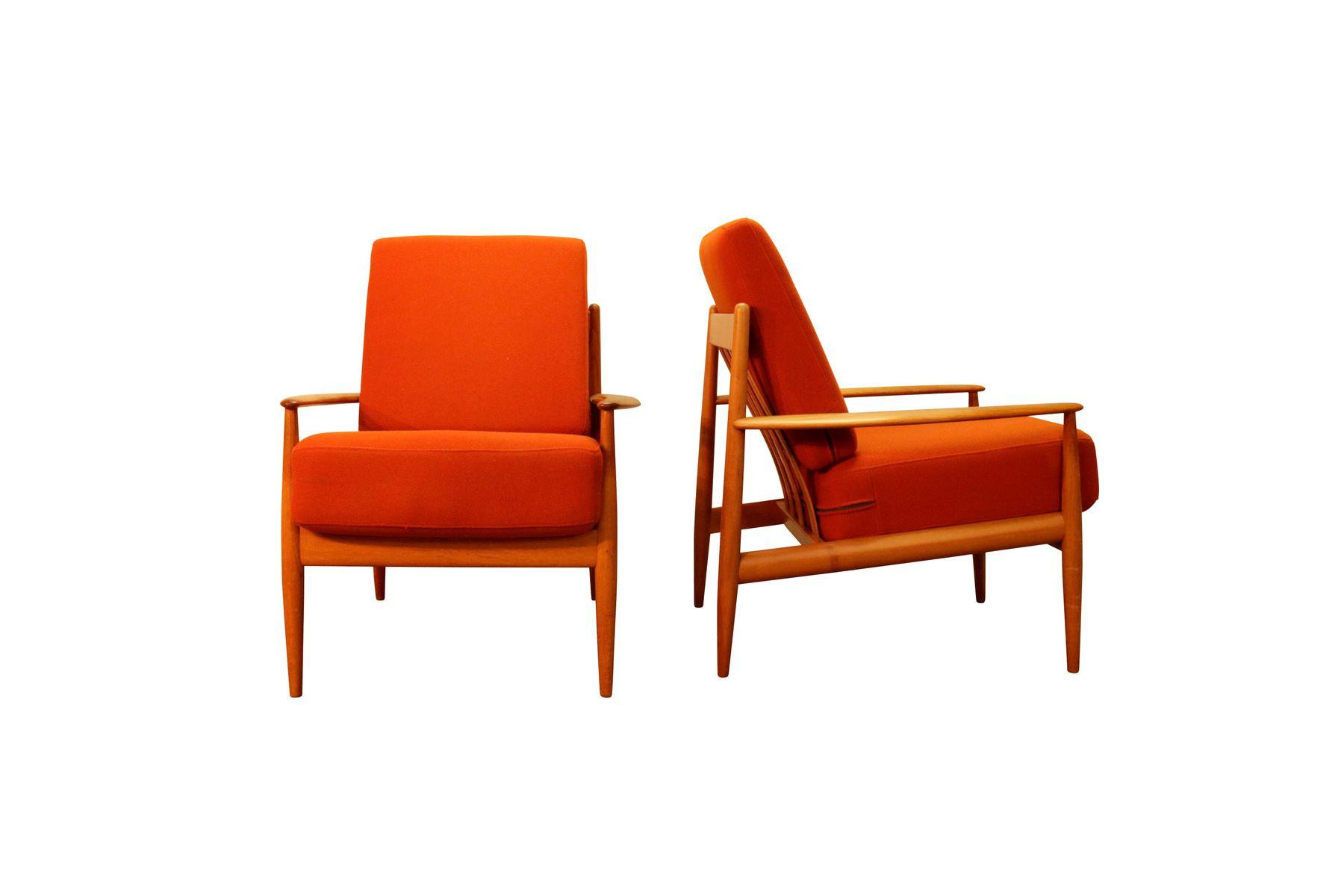 Orangener Sessel von France & Søn, 1950er, 2er Set
