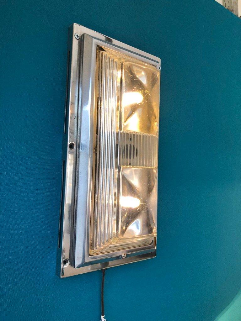 Industrielle Art Deco Wand- oder Deckenlampe aus Glas & Aluminium, 193...