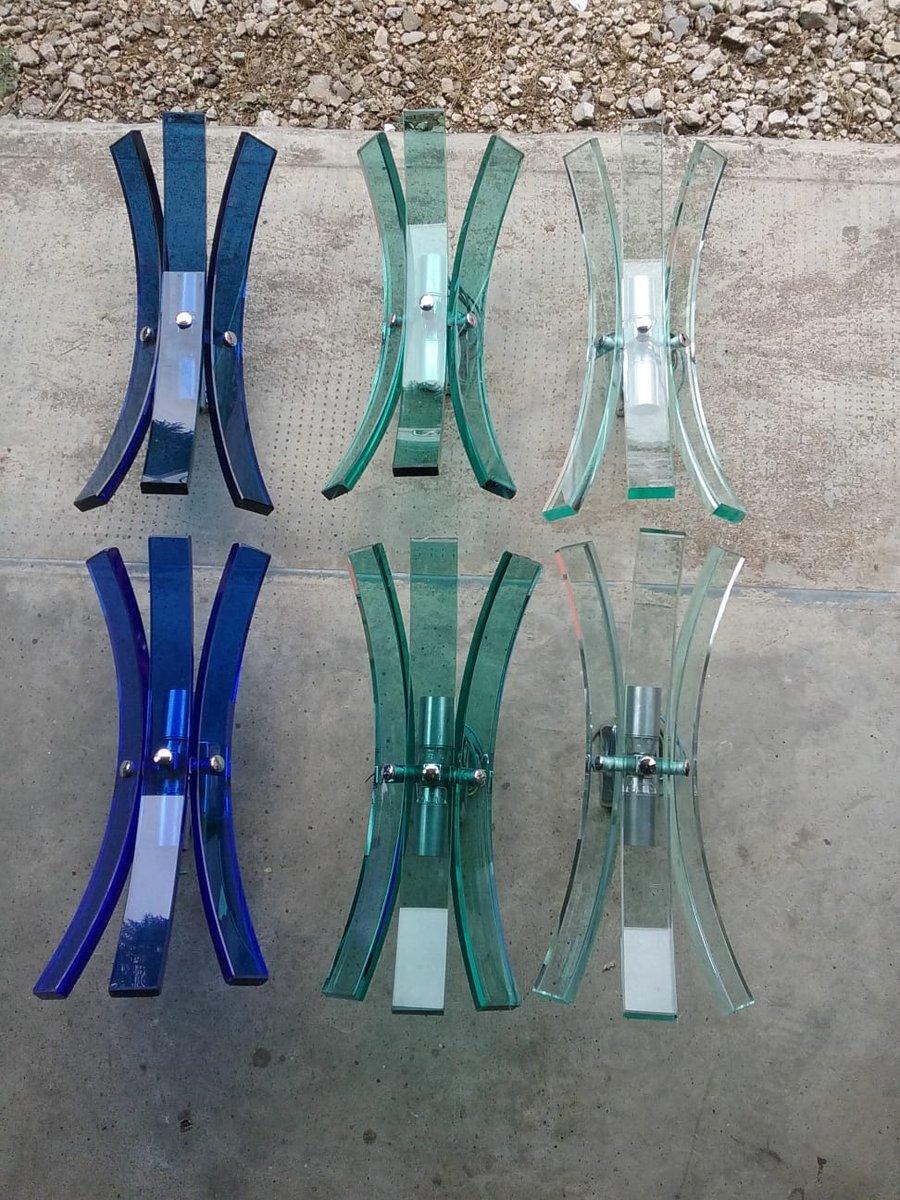 Vintage Wandlampen aus Glas von Veca, 1970er, 6er Set