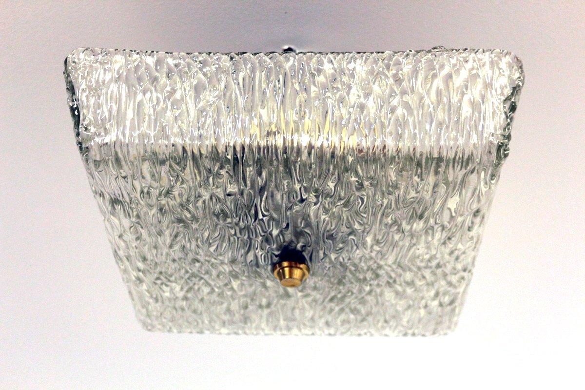 Vintage Deckenlampe aus Glas von Kalmar