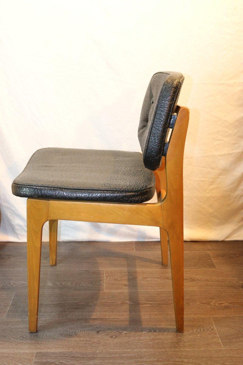 D nischer vintage stuhl aus holz schwarzem leder bei pamono kaufen - Vintage stuhl leder ...