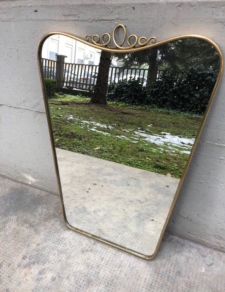 Mid century spiegel mit messingrahmen bei pamono kaufen for Spiegel mit messingrahmen