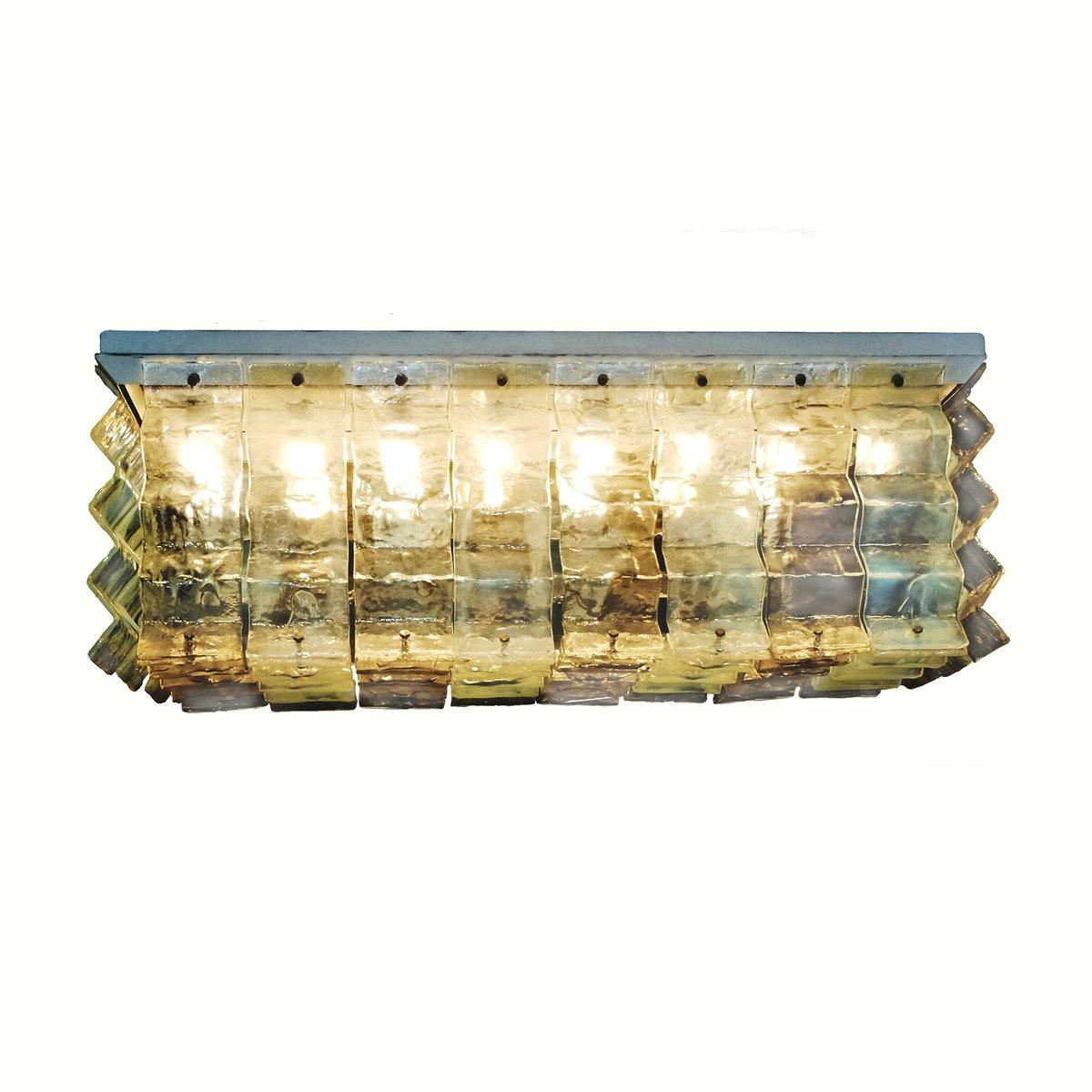 Einbaudeckenlampe und Kronleuchter von Carlo Nason für Mazzega, 1970er