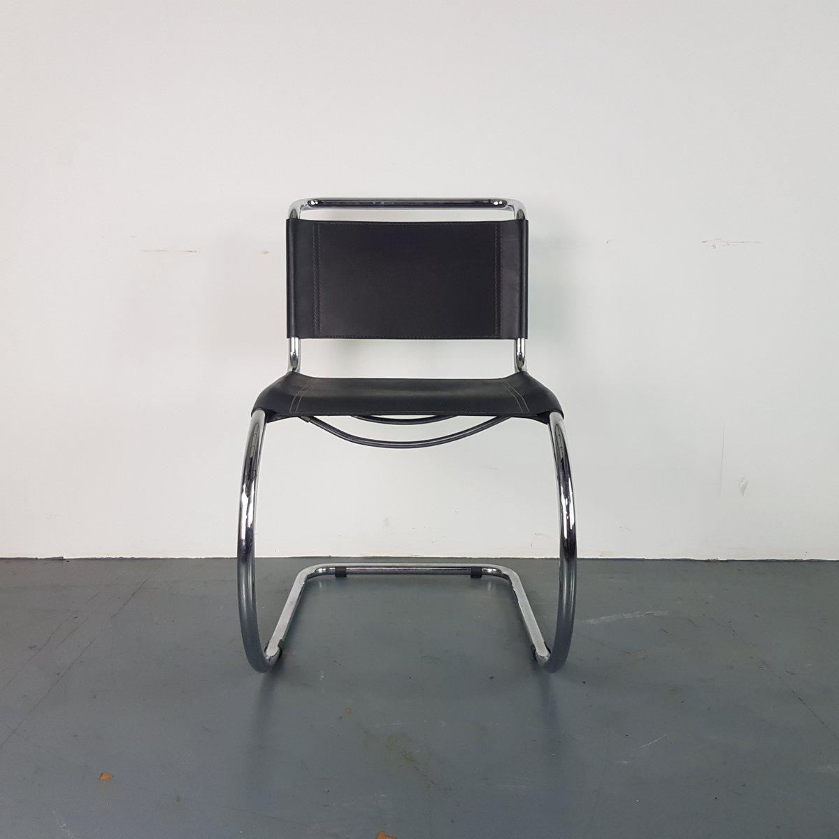 mid century stuhl mit schwarzem lederbezug gestell aus. Black Bedroom Furniture Sets. Home Design Ideas