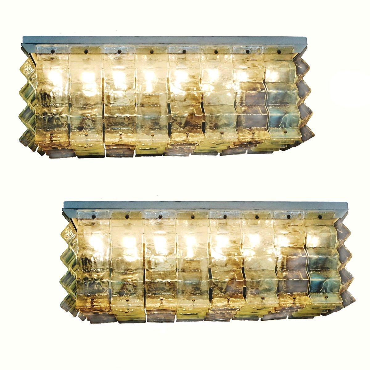Einbaudeckenlampe Kronleuchter von Carlo Nason für Mazzega, 1970er, 2e...