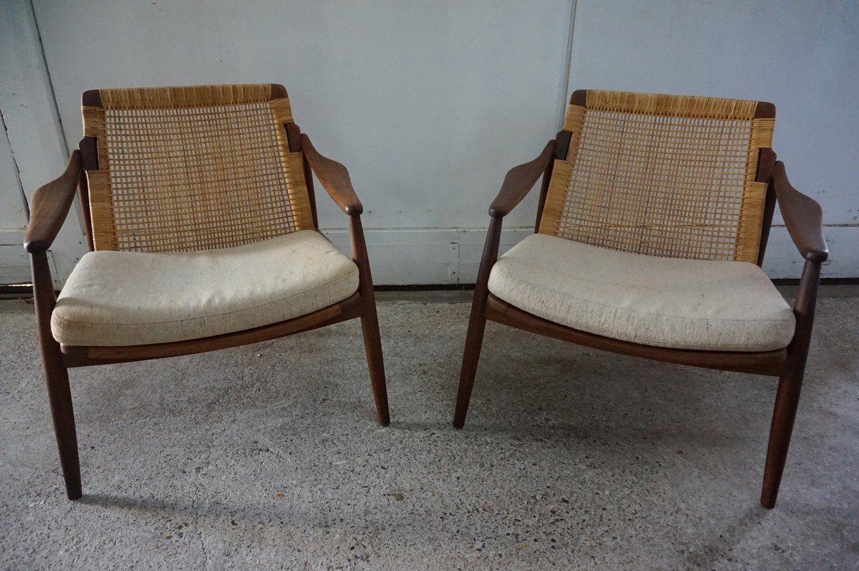 Sessel aus Schilfrohr & Teakholz von Ib Kofod-Larsen für Selig, 1960er...