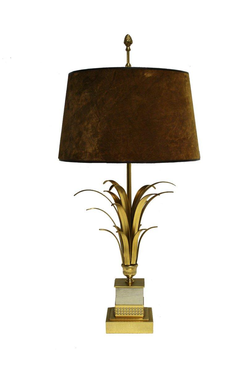 Lampe De Bureau Regency En Laiton Avec Pied En Forme De Feuille D