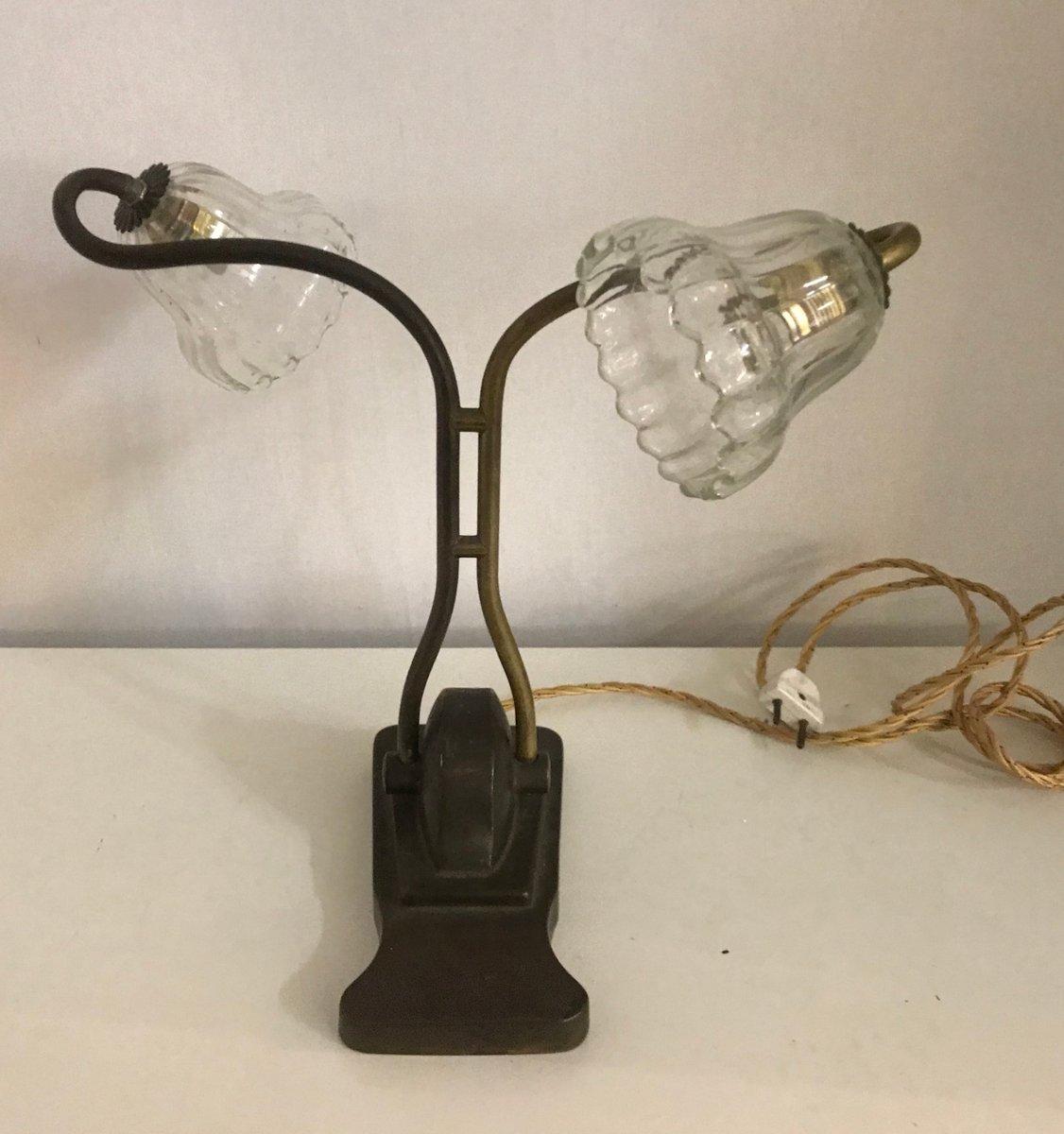 Antike italienische Tischlampe aus Bronze mit Leuchten aus Muranoglas,...