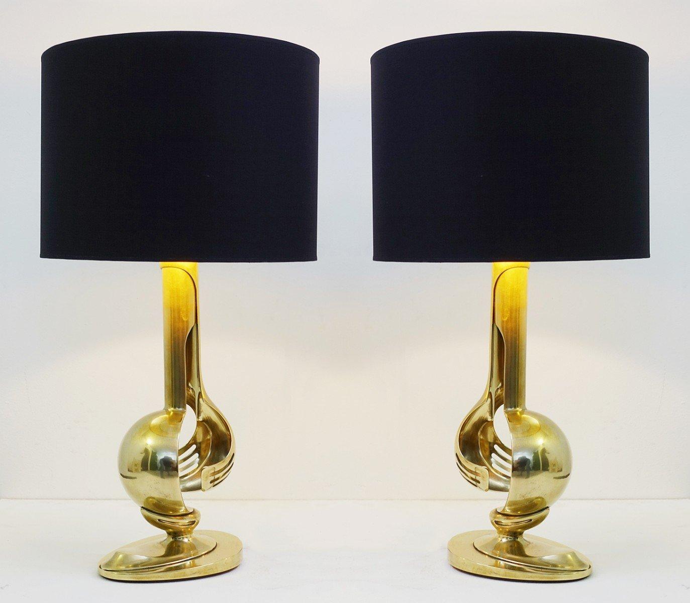 Vintage Tischlampen aus Messing, 1970er, 2er Set