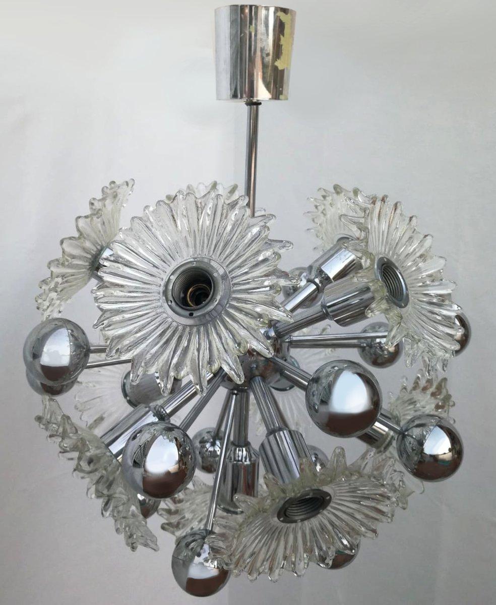 Sputnik Lampe mit Glasblumen, 1970er