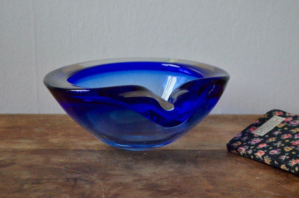 Blaue Muranoglasschale, 1950er