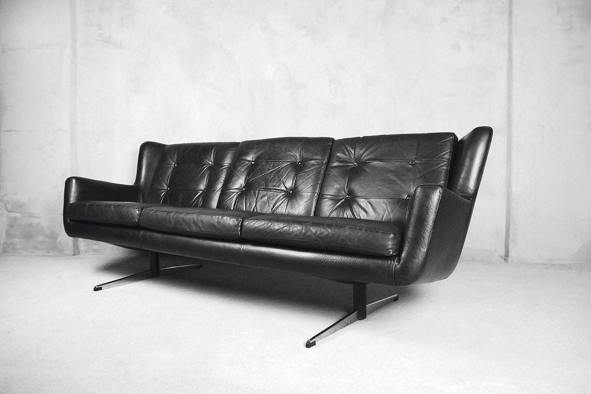 Mid Century Danish Leather Sofa From Skjold Sorensen 1960s