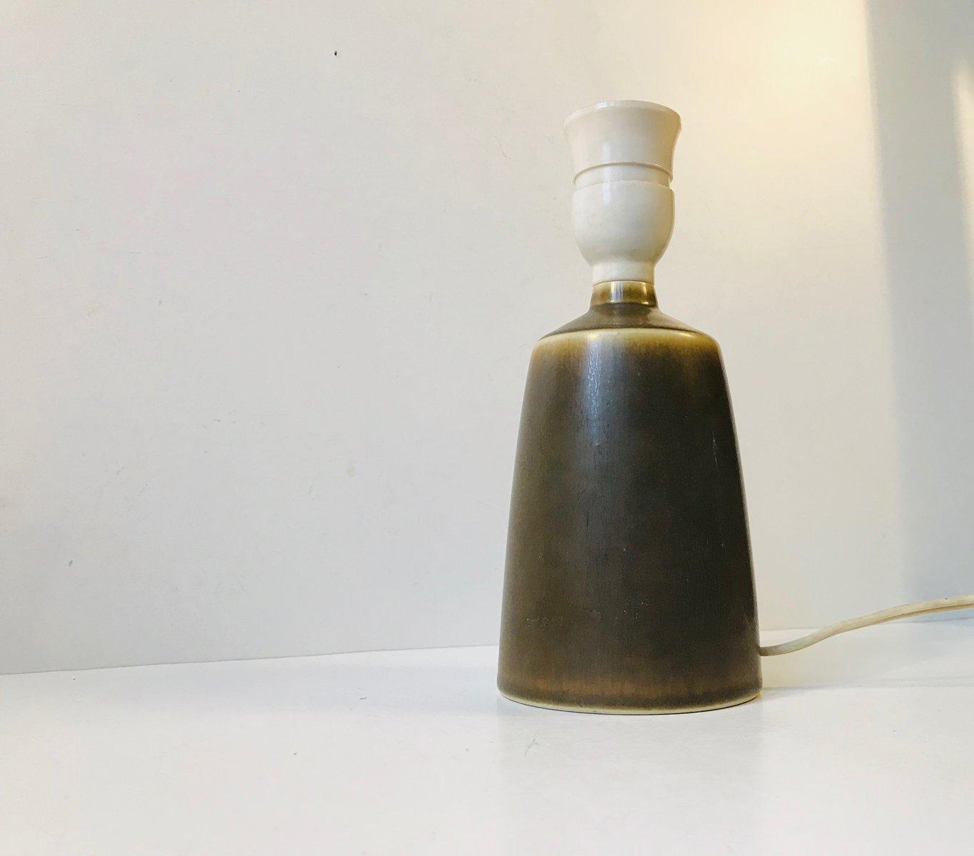 Glasierte Vintage Tischlampe aus Keramik in Hasenfell-Optik von Per Li...